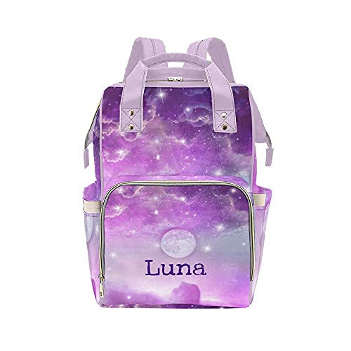 Personalized Galaxy Star Purple Sea Diaper Bag Backpack with Name Custom Mommy Nursing Baby Bags Nappy Bag Casual Travel Daypack for Mom Girl Gifts