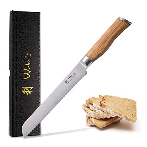 Wakoli Olive Damastmesser Brotmesser 20cm Klinge extrem scharf aus 67 Lagen I Damast Küchenmesser und Profi Kochmesser aus echtem japanischen Damaststahl mit Olivenholz Griff