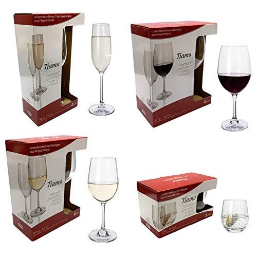 Moritz 8 Stück Tiamo Camping Gläser Set Weißwein Rotwein Wasser und Champagner Gläser bruchfest Kratzfest