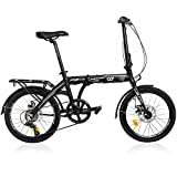 CyclingDeal Folding Bike Foldable Bicycle Shimano 7 Speed Aluminium 20-inch Wheels Easy Folding City Bicycle with Disc Brake, Rear Carry Rack, Front and Rear Fenders