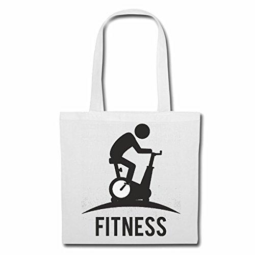 Tasche Umhängetasche Crosstrainer Fahrrad Bodybuilding Gym KRAFTTRAINING FITNESSSTUDIO Muskelaufbau NAHRUNGSERGÄNZUNG Gewichtheben Bodybuilder Einkaufstasche Schulbeutel Turnbeutel in Weiß