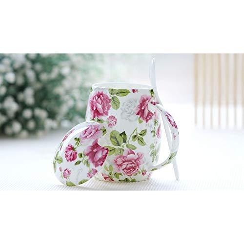 LOVLING Tasse 450 Ml Blumenrosenblütenmalerei Bone China Minion Becher Keramische Thermobecher Mit Löffel & Lippe