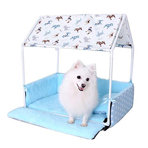JLXJ Cama Mascota Perrera Desmontable con Dosel y Valla para Perros Pequeños Medianos, Sofá De Cama para Perros De Invierno En Interiores, Marco De Hierro, Tapete Lavable (Color : Blue)