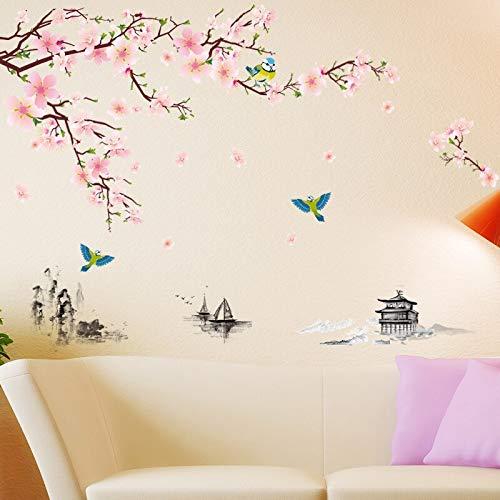 Calcomanías de pared de estilo chino, pegatinas de pared de flor de ciruelo, sala de estar, dormitorio, pegatinas de vinilo, mural de plantas, decoración del hogar