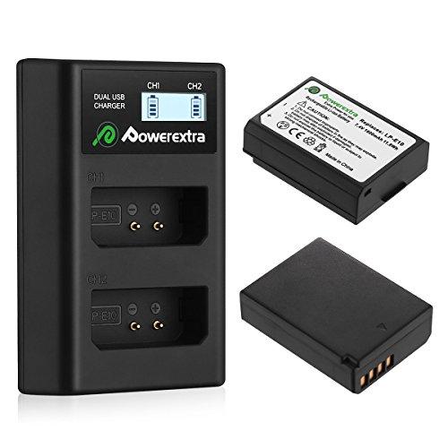 Powerextra Baterías de Repuesto Canon LP-E10 Dual USB Cargador Pantalla LCD para Canon EOS Rebel T3 T5 T6 Kiss X50 Kiss X70 EOS 1100D EOS 1200D EOS 1300D EOS 4000D EOS 3000D EOS 2000D Cámara Digital
