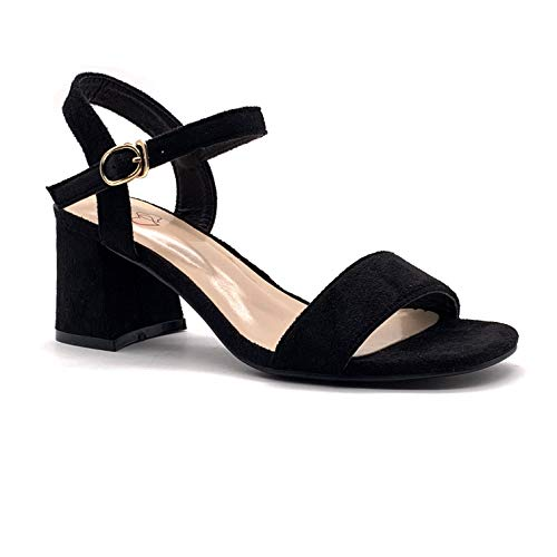 Angkorly - Damen Schuhe Sandalen Pumpe - stilvoll - glamourös - Schick - String Tanga - Basic Blockabsatz high Heel 6.5 cm - Schwarz FC-53 T 39
