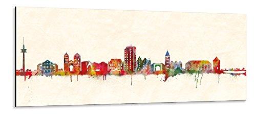 Acrylglas Wandbild Osnabrück Skyline/Panorama - Acrylglas mit Alu-dibond-Aufhängesystem - Farbe (div. Größen) - Kunst Druck auf Acrylglas 30x90cm