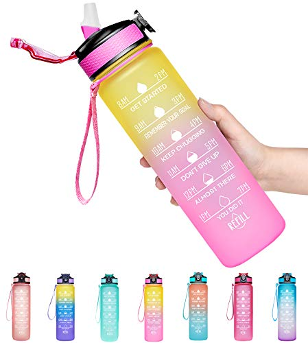 Giotto 32oz Large Leakproof BPA Free Drinking Water Bottle with Time Marker & Straw to Ensure You Drink Enough Water Throughout The Day for Fitness and Outdoor Enthusiasts-Ombre Yellow Pink