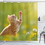 ABAKUHAUS Katze Duschvorhang, Marienkäfer-Katzen Löwenzahn, Hochwertig mit 12 Haken Set Leicht zu pflegen Farbfest Wasser Bakterie Resistent, 175 x 200 cm, Erde Gelb Blass Grün