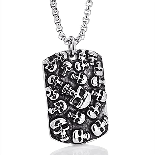 Herren Halskette Anhänger Schmuck Punk 3D Schädel Anhänger Halskette Tattoo Edelstahl Schädel Anhänger Halskette Charme Männer Mode Schmuck-Silber_with_85Cm_Chain