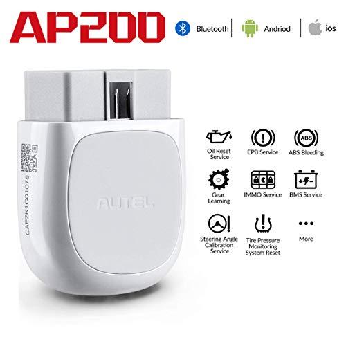 Autel AP200 OBD2 Scanner Bluetooth Diagnostica Auto Strumento Fai-da-Te Diagnosi di sistemi Completi Lettore di Codice AutoVIN Reset Olio Bianco