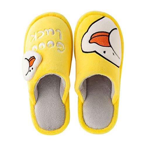 AYDQC Zapatillas de Invierno de Las Mujeres 2021 Amarillo Lindo Pato Zapatillas de rebaño casero Suave Antideslizante esponjado Esponjoso Peluche Calzado Interior Zapatos