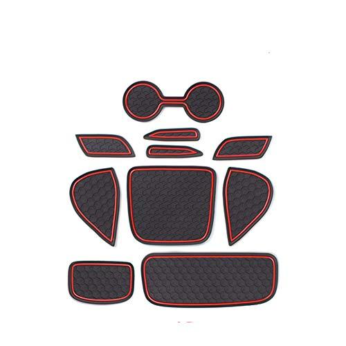 SMABEE per Toyota Yaris Accessori 2020 2021 Premium Personalizzato Interno Antiscivolo Anti Dust Portabicchieri, Console Centrale Liner Mats, Porta Pocket Liners (10 Pz, Rosso Trim)