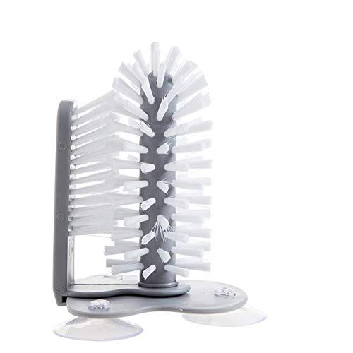 Lavadora de Vidrio con Doble, Cepillo de Botella con Ventosas Cocina Limpiador de Vasos,Cocina Doble Cepillo Giratorio para Barra de Cocina Lavado Herramientas Cristalería 🔥