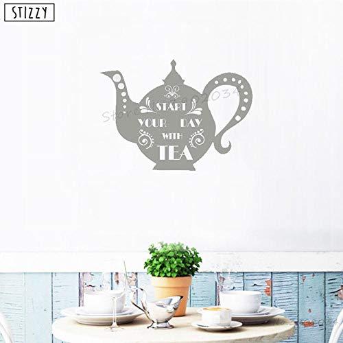 Cooldeerydm Wandtattoos, creatieve theepot, muursticker, Cita begint je dag met keuken thee, moderne kunst, waterdicht, afneembaar