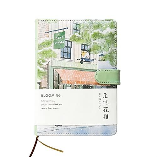 WANGYIYI Cuaderno Creativo Cuadernos con Hebilla magnética Revistas de Tapa Dura de PU Bloc de Notas para Estudiantes de páginas Interiores de Color para Office Home School (Color : Green)