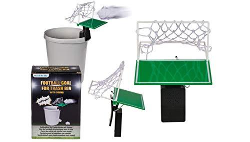 EuroDiscount Fußballtor für Papierkorb mit Sound Bürospiel Papierknäuel Weitwurf 24,5 cm 1 Stück