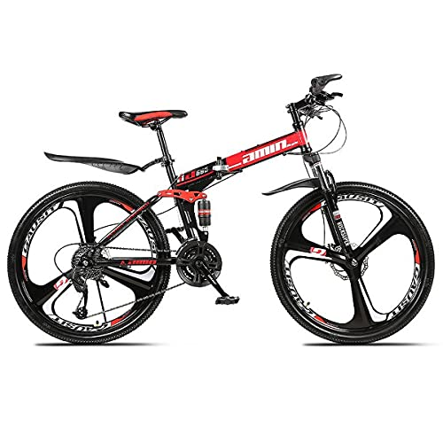 GGXX 26 Inch Full Suspension Mountain Bike 21/24/27/30 Speed Double Shock Absorber One Wheel Folding High Carbon Steel Double Disc Brake Bicycle
