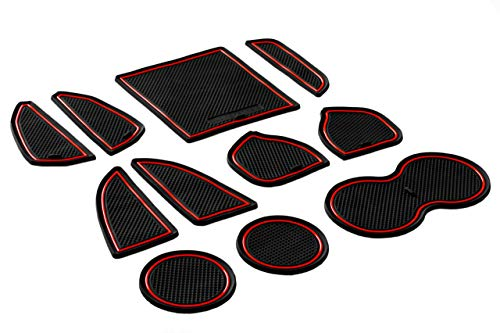 CupHolderHero for Dodge Challenger 2015-2020 Custom Liner Accessories - Premium Cup Holder, Center Console, and Door Pocket Inserts 11-pc Set (Red Trim)