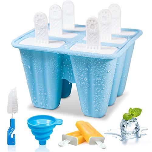 Silikon Eisformen set 6 Eis am Stiel Formen Eislutscher Schimmel Eisform Eiswürfel Eis am Stiel Hersteller Eisförmchen Eislutscherform Eis Schimmel Mit Reinigungsbürste und Falttrichter Blau