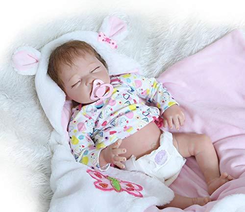 Nicery Bebe Reborn Niña Baby Doll 18 Pulgadas 50 cm Silicona Dura Medio Cuerpo de Tela Niño Niña Juguete para niños de 3+ años Bébé Reborn de cumpleaños y Navidad Reborn Silicona a50005b