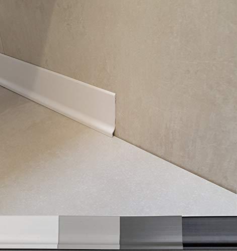 Plinthe souple en PVC grande qualité de MadeInNature®, Blanc, Gris clair, Gris foncé, Noir, hauteur 70 mm, Longueur au choix (50 ml, Blanc)