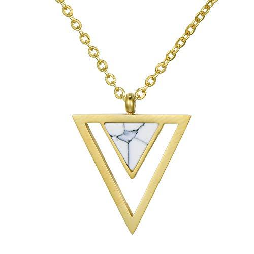 Morella Collar Mujeres con Colgante Doble triángulo Blanco de Acero Inoxidable Oro en Bolsa de Terciopelo