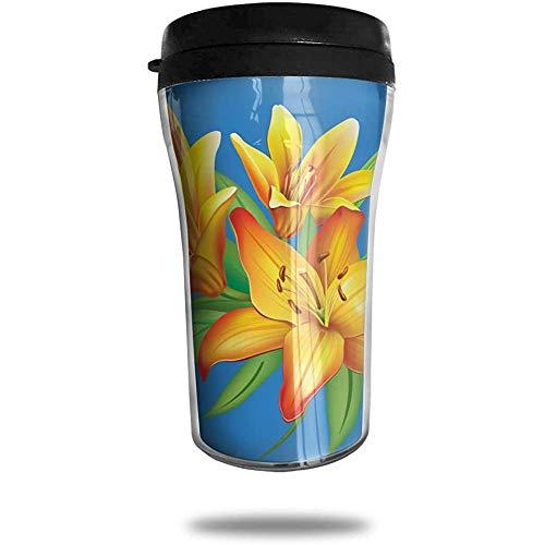 Gelbe Lilien Clipart Travel Kaffee-Haferl 3D gedruckt tragbare Saugnapf, isolierte Teetasse Wasserflasche Becher zum Trinken mit Deckel 8,54 oz (250 ml)