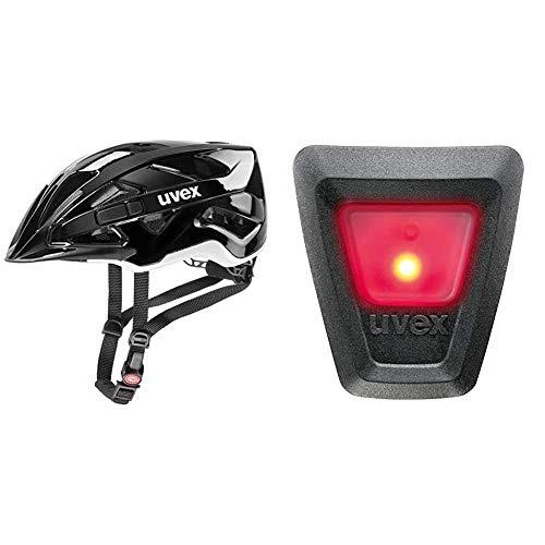 Uvex Unisex– Erwachsene Active Fahrradhelm, Black White, 52-57 cm & Unisex– Erwachsene, Plug-in LED für Active Zusatzbehör, one Size