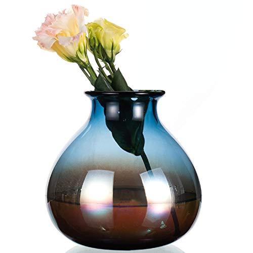 KOONNG Vasen Hauptdekoration Bunte Kobaltblaue Handgemachte Glasvasenvase Europäische Blume Fügte Tabellenblume EIN