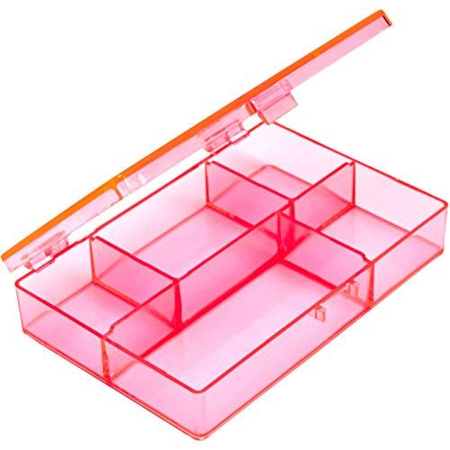 Mini, 4.5 In. Small Pink Plastic Box Craft Organizer. Cute BPA-Free Countertop or Drawer Storage for Beads, Jewelry Hardware, Thread and Sewing Notions for Craft Room. Best for Teens or Girls Age 8-13