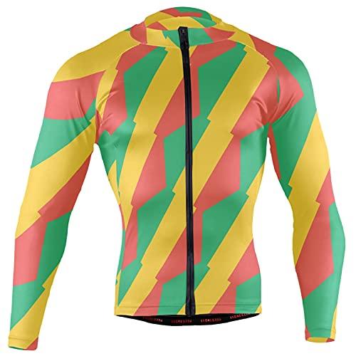 Fahrradtrikot mit kongo Brazzaville Flagge, langärmelig, Fahrradjacke, Taschen, durchgehender Reißverschluss Gr. XXL, multi