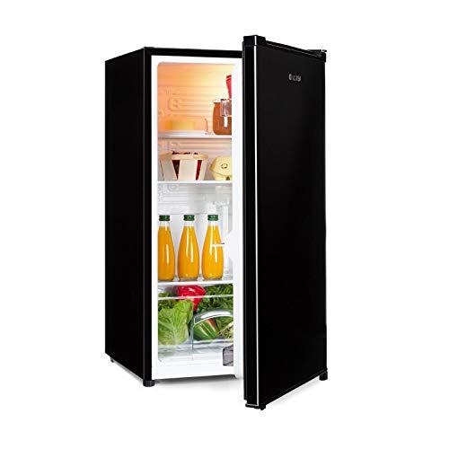 Klarstein Hudson Nevera - 88 litros, eficiencia energética E, 3 estantes de cristal, 2 compartimentos para verduras, luz interior LED, 3 compartimentos para botellas de hasta 2 litros, Negro