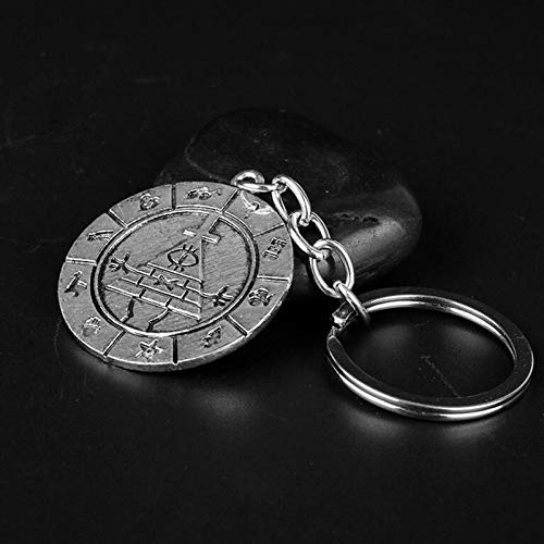 YHX European and American peripheral accessories, bizarre town Bill Time vintage keychain(Color:Silver)