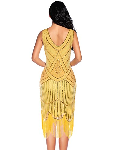 Flapper Girl Women's Vintage 1920s Sequin Beaded Tassels Hem Flapper Dress (M, Yellow)