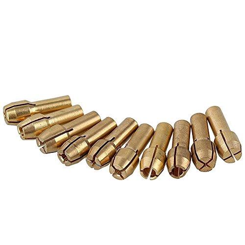 Paor 10 Stk. 4.3mm Schaft 0.5-3.2mm Messing Spannzange Bohrfutter für Dremel Drehwerkzeuge Elektrische Schleifbohrer sammeln Spannfutter Halter 0,5-3.2mm