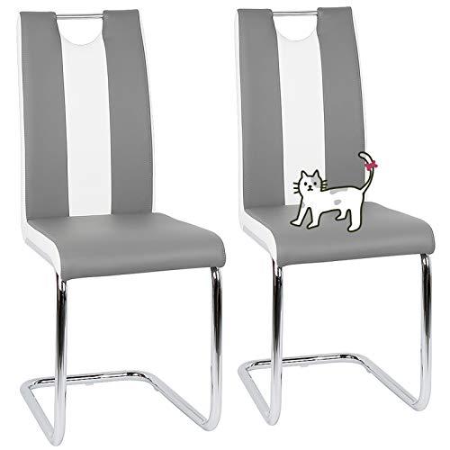 Set de sillas Cantilever,Juegos de Muebles, Sillas de Salón Comedor Modernas,2 Piezas Sillas de Comedor Sillas de Oficina Conferencia, para Oficina, Cocina, Dormitorio(Gris + Blanco) (2)