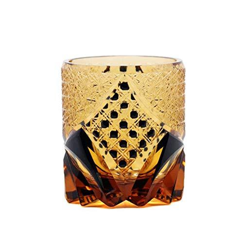 ZHHOOHAG Copas De Vino Gafas Cortadas de Vidrio Copa de Vino Copa de Vino Crisantemo Malla de Malla Negro Beber Gafas Copas De Vino Tinto (Capacity : 300ml, Color : Black)