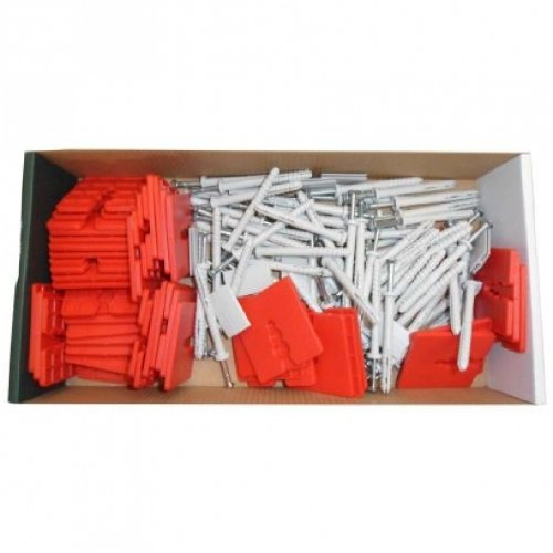 Montageset für Alu- Sockelschiene Sockelprofil Montage bestehend aus 75 Dübel 6x60, 10 Verbinder, 50 Abstandshalter 3mm Fassadendämmung EPS Dämmung Dämmplatten