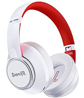 Hybrid Active Noise Cancelling Headphones, SuperEQ S1 Wireless Headphones Over Ear with Bluetooth 5.0, Ambient Mode, 45H Playtime, Hi-Fi Deep Bass, Bluetooth Headphones with Bulit-in Mic (White) from Supereq