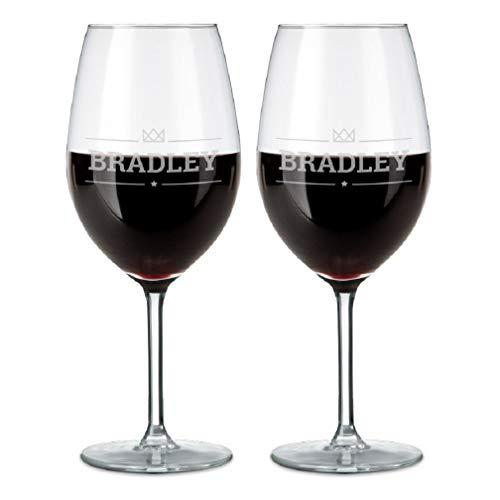 YourSurprise Bicchiere da Vino Personalizzato con Nome - Bicchiere da Vino Rosso Inciso con Nome: Personalizzabile con Testo, Design e Caratteri Diversi (2 Pezzi)
