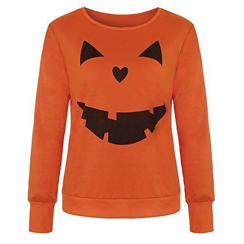 LOPILY Halloween Shirts Kürbis Kostüm Damen Orange 3D Sweatshirts für Halloween Kostüme Sexy Halloween Party Tshirt Gruselige Muster Oberteile Damen Gespenster Druck Tshirt (Orange, 38)