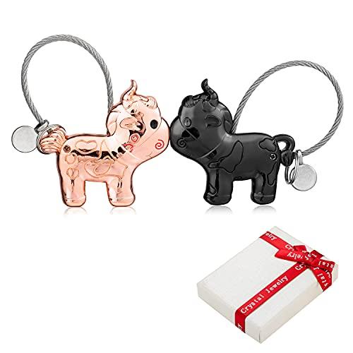 2 Portachiavi Coppia Amore, 1Paar Das Cattle Magnet piccolo con bocca magnetica, decorazione in fune metallica in acciaio inossidabile Cordino per partner amante Regalo di amicizia migliore amico