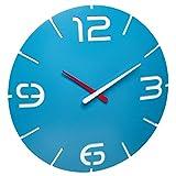 TFA Dostmann Contour Design 60.3536.14 - Orologio da parete radiocontrollato, grande, colore: azzurro cielo/bianco