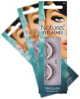 Natural False Lashes Self Adhesive - Lightweight Glueless Fake Eyelashes - 3 Sets
