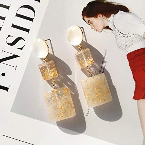 Chwewxi Japanse en Koreaanse stijl mooie amber textuur oorbellen eenvoudige wilde acetaat gouden folie transparante hars oor clip oorbellen vrouw, oorbellen paar