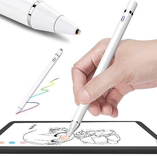 EZTecho Stylus Pen Activo Universal Stylus para Pantallas táctiles 2 En 1 Alta-Precisión 1.45mm Capacitiva Lápiz Ultra Fina Punta de Fibra para Dispositivos de Táctil, iOS / Android / Windows /Tablet/ iPad/ iPhone, Samsung And more