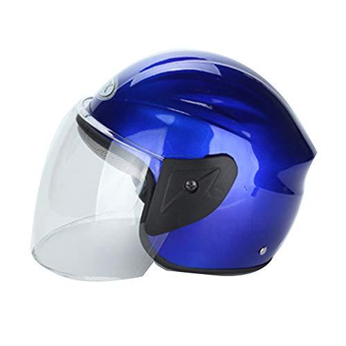 KuaiKeSport Casco Modular de Motos,Casco Patinete Scooter Electrico Adulto con Collar Térmico Desmontable Mujer y Hombre,Cascos Half-Helmet Casco de Bicicleta de Motocicleta Eléctrica,Azul