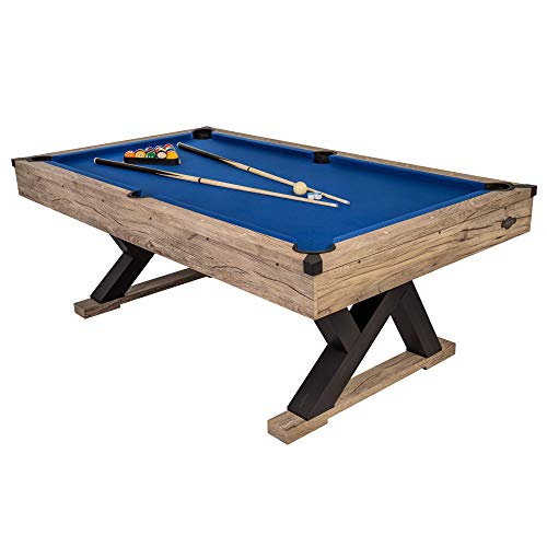 """American Legend Kirkwood 84"""" Billiard Table with Rustic Blond Finish, K-Shaped Legs and Royal Blue Cloth (AL3005W)"""