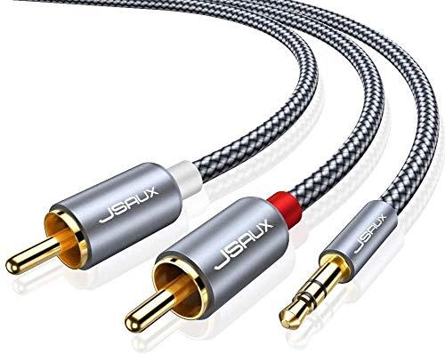 JSAUX Cavo Audio RCA Jack 2M, Cavo Adattatore Stereo Jack 3,5mm a 2 RCA Cavo Splitter Y Maschio RCA Aux, Adatto per Smartphone, DVD, MP3, Amplificatori, Altoparlanti, HDTV-Grigio